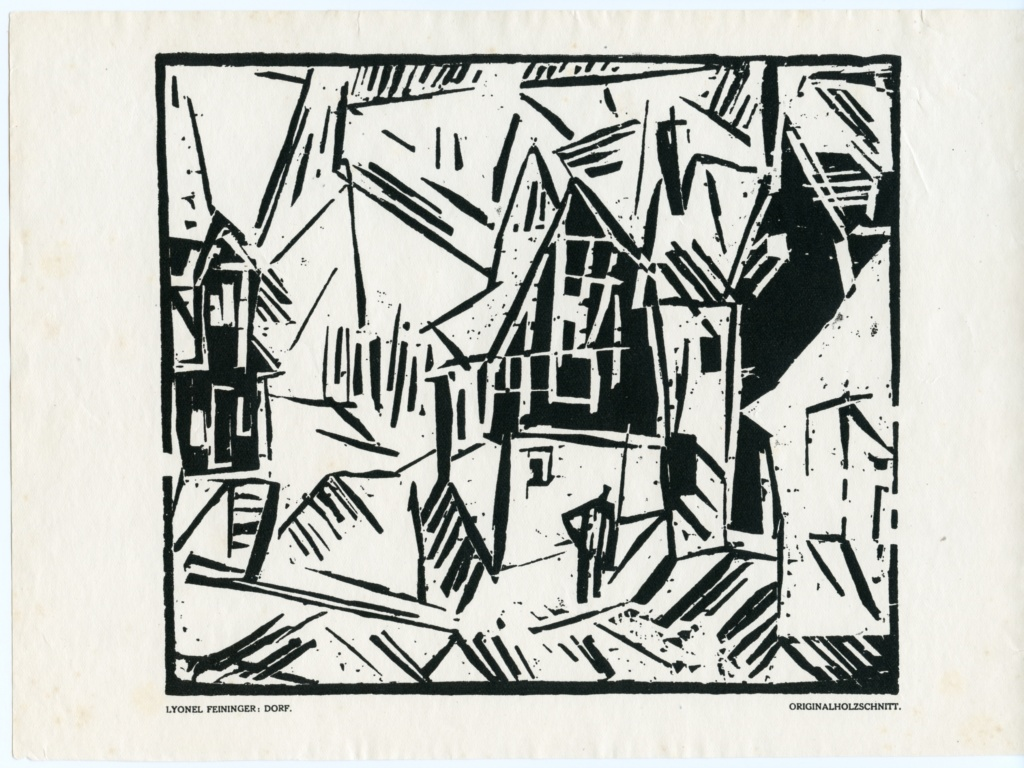 Dorf, Lyonel Feininger. original woodcut for Das Kunstblatt publication. $735